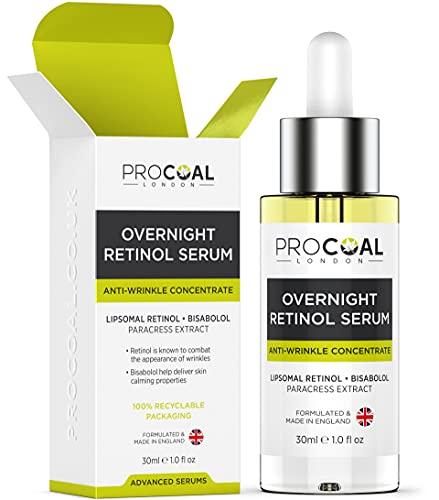 Overnight Retinol Serum High Strength for Face 30ml by Procoal - 3% Retinol...