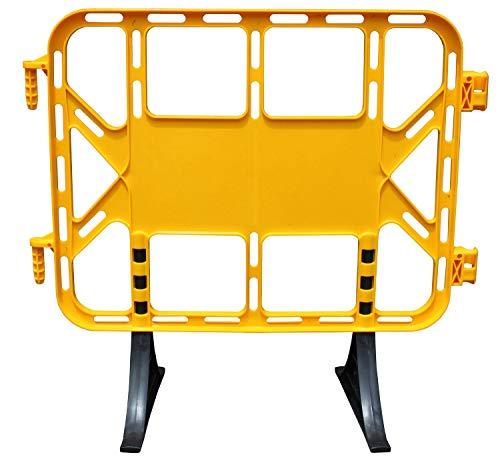 Valla de plástico obra peatonal en color amarillo, valla con patas extraíbles de 1 metro (1- Valla)