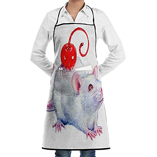 ASNIVI Kitchen Cooking Aprons for Women & man, Watercolor Painting Of Pet Rat On White Paper ?Apron with 2 Pockets ,Aprons for Home Kitchen, Restaurant Cooking, Coffee House, BBQ, Garden Using