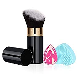 powerful RoNeauty Retractable Kabuki Foundation Brush Angle 3D Retractable Liquid Makeup Brush