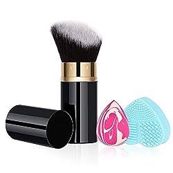 powerful RoNeauty Retractable Kabuki Foundation Brush Angle 3D Retractable Liquid Makeup Brush