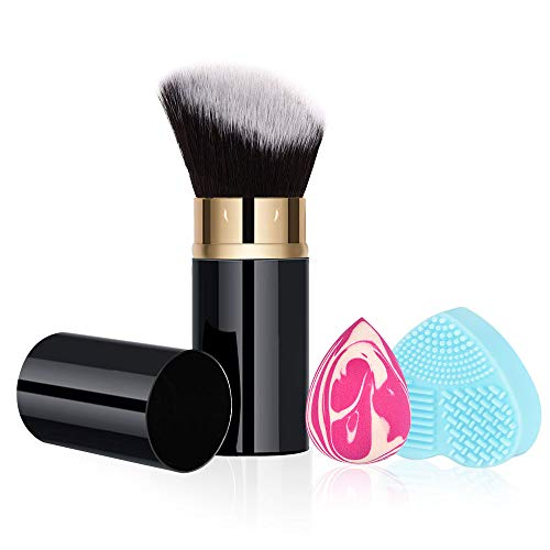 RoNeauty Retractable Kabuki Foundation Brush Angled Face 3D Retractable Makeup Brush for Liquid Powder BB Cream with Makeup Sponge and Silicone Brushes Cleaner