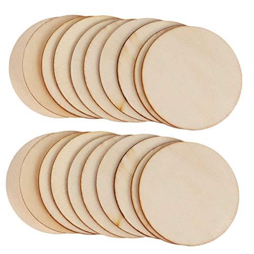 Supvox 100 Stücke Runde Holzscheiben zum Basteln und Bemalen Holz Streudeko Streuteile Baumscheiben Naturholzscheiben DIY Holzanhänger für Rustikale Hochzeit Tischdeko 5cm