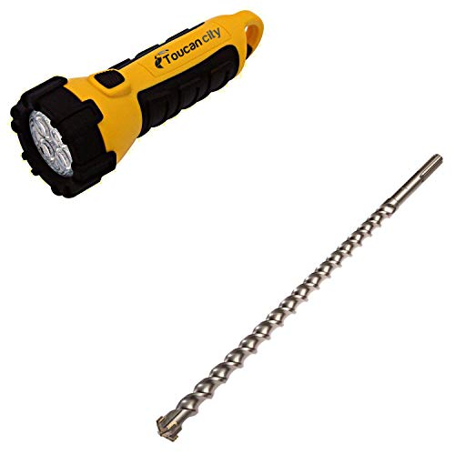 Toucan City LED Flashlight and Kateya 1 in. x 24 in. Carbide Tipped SDS Max Masonry Drill Bit 1KCTMBSM