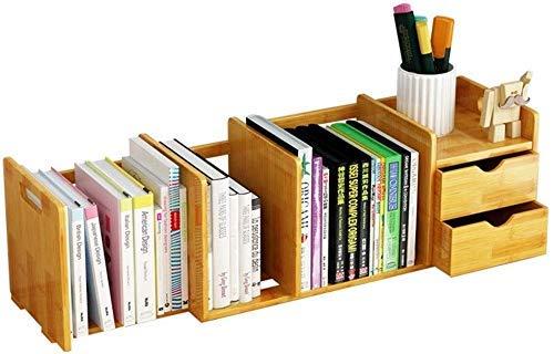 QINGJIA Bookcasas Bookshelf Almacenamiento de Adultos Estudiante Estudio Estante para niños Multiprotones Soporte de exhibición multiprolado Creativo retráctil Mesa de bambú Pequeño Estante de Madera