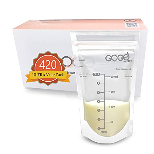420 CT (7 Pack of 60 Bags) Ultra Value Pack Breastmilk Storage Bags - 7 OZ, Pre-Sterilized, BPA Free, Leak Proof Double Zipper Seal, Self Standing, for Refrigeration and Freezing - Only at Amazon