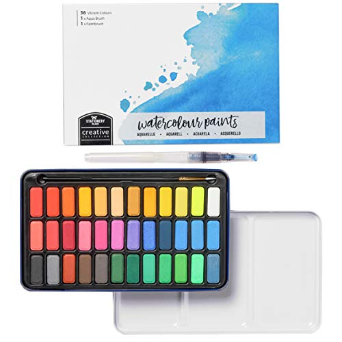 Stationery Island Creative Collection Watercolor Paint Set – 36 Full Pan Colors + 1 Aqua Brush + 1 Paintbrush + Mixing Palette in A Tin Case. Lightweight & Portable Art Set