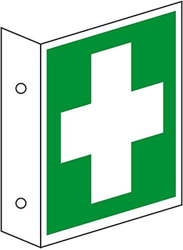 LEMAX® Rettungs-Fahnenschild Erste Hilfe, doppelseitig, ASR/ISO, Kunststoff, 200x200mm