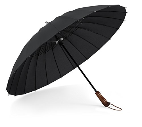 Plemo Regenschirm Stockschirm mit Holzgriff und 24 Streben, Schnell Trocknet, Strapazierfähig für Optimalen Widerstand gegen Wind und Regen