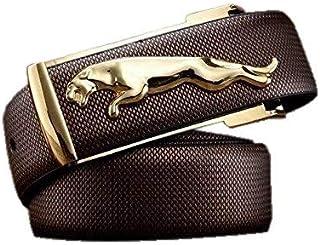 Men's Jaguar Brown Belt with Silver/Golden Buckle (Free Size)