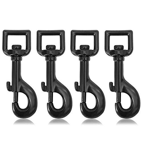 Karabiner – Haken mit Drehgelenk für Hundehalsband im 4er Set, robuster Stahl – Karabiner 85mm Länge, Für Paracord 550 Hundeleine, Karabiner mit Drehkopf, Farbe schwarz, Marke Ganzoo