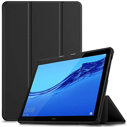 IVSO Custodia Cover per Huawei Mediapad T5 10, Slim Smart Protettiva Custodia Cover in Pelle PU per Huawei Mediapad T5 10.1 Pollici 2018, Black