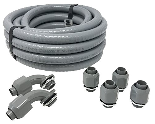Sealproof Non-metallic Liquid-Tight Conduit and Connector Kit, 1/2-Inch 25 Foot Flexible Electrical Conduit Type B with 4 Straight and 2 90-Degree Conduit Connector Fittings, 1/2