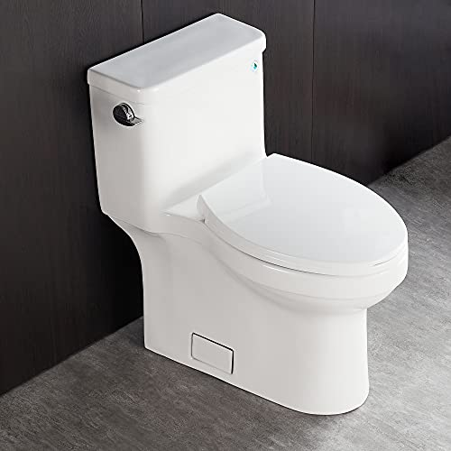 DeerValley DV-1F52828 White Comfort Height ADA Toilet, Soft Closing Seat and Left-Hand Trip Lever Included, High-Efficiency , Gravity Flush Toilet Elongated One Piece Toilet