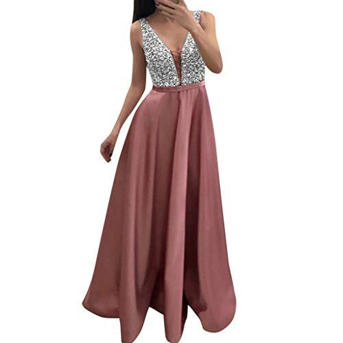Damen Kleider Langes Abendkleid Party Freizeit Kleid Mode Pailletten Kleider äRmellos LäSsig V-Ausschnitt Party Kleid Hochzeit Brautjungfer Tragen Rosa L