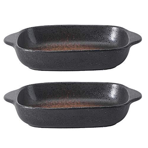 Juego de utensilios para hornear de cerámica de 2 piezas, 18 oz, vajilla japonesa, plato especial, plato rectangular para hornear, sartenes para lasaña para cocinar, cocina, pastel, cena (marrón)
