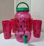 Set de Dispensador de Bebidas Frías con grifo de 3.8 litros con 4 vasos reutilizable de agua para bebidas plástico sin BPA. jarra dispensador con grifo de Bebidas de autoservicio rojo