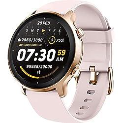 Holabuy Smartwatch Donna,Orologio Fitness Smart Watch Contapassi Cardiofrequenzimetro, Full Touch 1,28'' Schermo Tracker Sportivo Activity Cronometro,Impermeabile 5ATM Notifiche Messaggi —Rosa