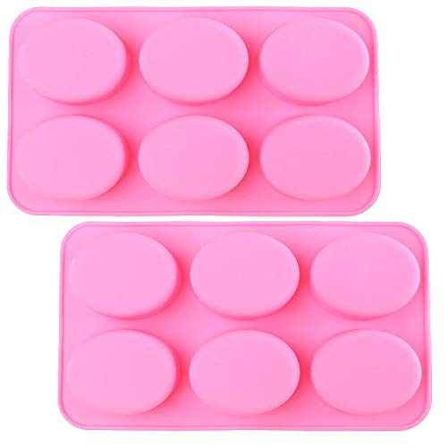 Silicone Mold for Handmade Soap Jelly Pudding Cake Baking Tools Biscuit Cookie Chocolate Molds (Pink Oval (2 Pack))