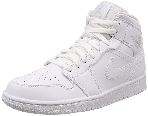 Nike Herren AIR Jordan 1 MID Basketballschuhe, Elfenbein (Weisspure Platinum Weiss), 45 EU