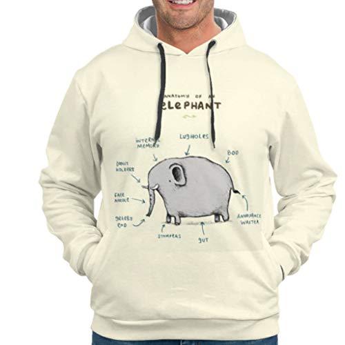 WJunglezhuang Mens Unisex Hoodies Anatomie eines Elefanten Kunstdruck Langarm Sweat Hoodie Für Frauen drakblack m