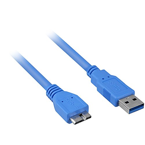 Sharkoon USB 3.0 Kabel, Stecker A auf Stecker Micro-B, 1 Meter, Datenübertragung bis zu max. 5 Gbit/s  blau