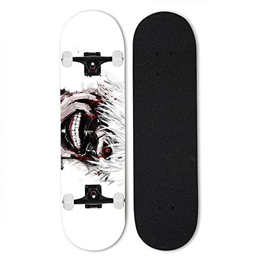 Totots Profesional completo para skateboarding Tokyo Ghoul: Kaneki Ken Four-Wheel Tild Patinaje de doble tilt Anime Mapate Skateboard al aire libre Extreme Sports Skateboard 31 pulgada Skateboard MEJO