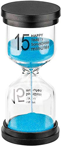 15 Minute Sand Hourglass Timer: Plastic Sand Clock 15 Minutes, Large...