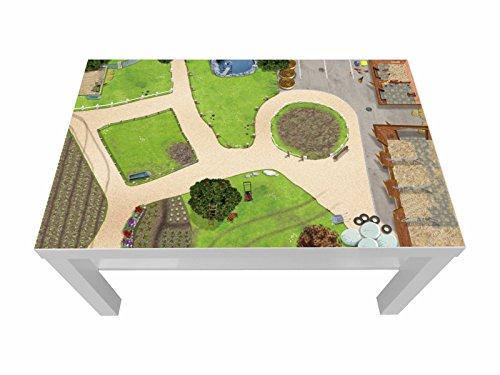 Bauernhof/Reiterhof Möbelfolie/Aufkleber - LCK01 - passgenau für den Lack Couchtisch (90 x 55 cm) von IKEA - In wenigen Minuten zum einzigartigen Spieltisch für Kinder! (Möbel Nicht inklusive)