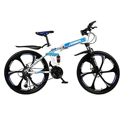 PsWzyze Bicicleta para Hombre,Bicicleta Plegable portátil de 26 Pulgadas y 21 velocidades, Bicicleta de montaña para Estudiantes Adultos, Bicicleta de montaña para vehículos Todo Terreno-Azul