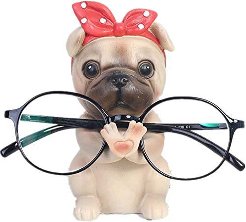 GAODA Brillenhalter Tier aus Polyresin, Niedlichen Welpen Hund Form Brillenhalter, Hund Figur Stehen Brillen Halter, lustig Sonnenbrillenhalter Ornament für Kinder Männer Frauen Geschenk. (Mops)