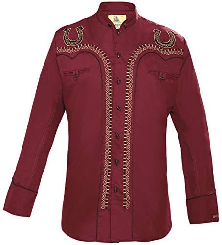 Modestone Men's Embroidered Horseshoe Filigree Charro Fitted Western Camicia Cowboy Wine S