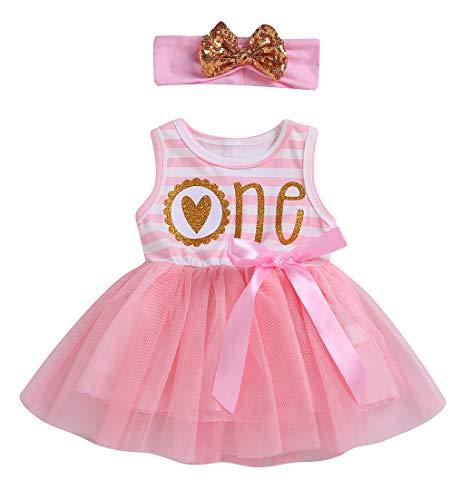 Newborn Baby Girls Pink Striped Tutu Dress First Birthday Skirt Outfits Casual Donut Print Girls Clothes Headband 2Pcs Set (Striped ONE Sleeveless, 18-24Months)