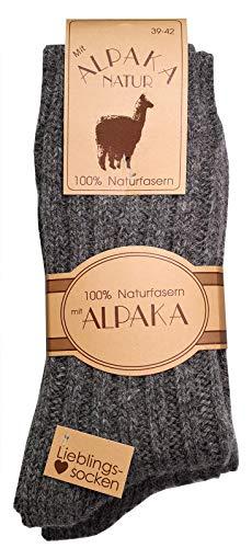 dunaro 2 Paar Wollsocken 100prozent Alpaka und Schaf-Wolle kuschelig warme Wintersocken Damen Herren (2 Paar / 43-46 Grau)
