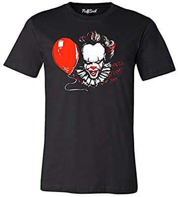 NuffSaid You'll Float Too Pennywise Classic 80's Horror T-Shirt - Graphic Clown Tee