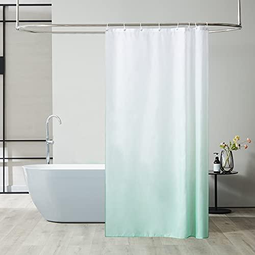 Furlinic Duschvorhang Textil Anti-schimmel Wasserdicht Waschbar Badvorhang aus Polyester Stoff Weiß nach Grün 120x200cm mit 8 Duschvorhangringen.