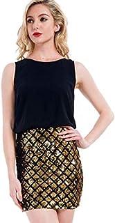 Vangull Party Sleeveless Zipper Back Contrast Sequin Sheath Dress For Women