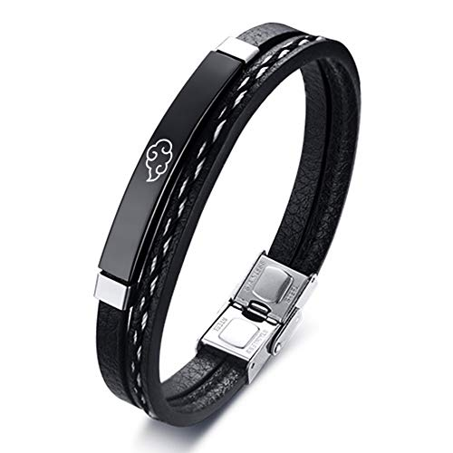 YWDREAM Multi Layer Leather Bracelets for Men Women Anime Cosplay Engraved Inspirational Black Cuff Wrap Wristband Stainless Steel Casual Personalized Bangle Length 20CM (01-Black Leather(Black ID Bar))