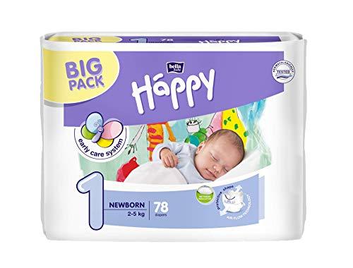 bella baby Happy Windeln groß 1 - Newborn, 2-5 kg, 1er Pack (1 x 78 Stück)