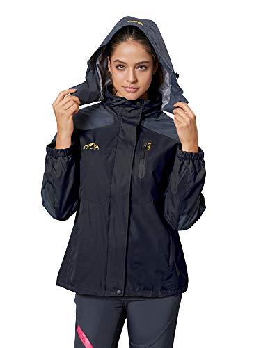 Spmor Women's Waterproof Jacket Rain Coat Windproof Breathable Hooded Windbreaker Jacket Black Large