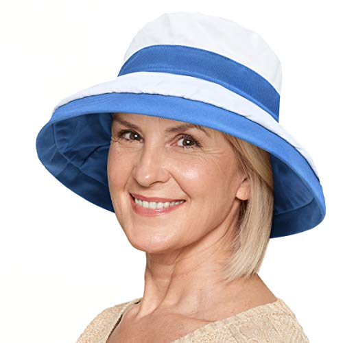 Women Cotton Canvas Reversible Bucket Hat UV Sun Protection UPF 50+ Double Sided Safari Travel Beach Golf Cap Blue/White