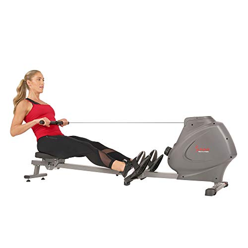 Sunny Health & Fitness Compact Folding Magnetic Rowing Machine with LCD Monitor, Bottle Holder, 43 Inch Slide Rail, 285 LB Max Weight - Synergy Power Motion - SF-RW5801, Silver