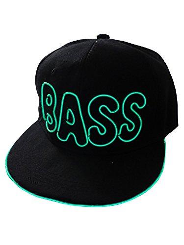 grau.zone Leuchtendes Baseball-Cap BASS LED-Basecap Snapcap Trucker-Cap Schirmmütze Grün