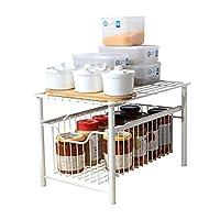 台所下 収納ラック 台所の浴室のオフィスのためのスライド収納引出しデスクトップオーガナイザーが付いているシンクキャビネットオーガナイザーの下の傾向 (色 : White, Size : 27.5x42.5x26cm)