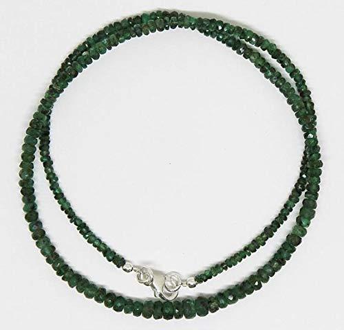 LKBEADS AAA kvalitet zambisk smaragd fasetterade rondeller - redo att bära halsband 3 mm - 5 mm 18 tum/Maj månadssten kod-HIGH-25503
