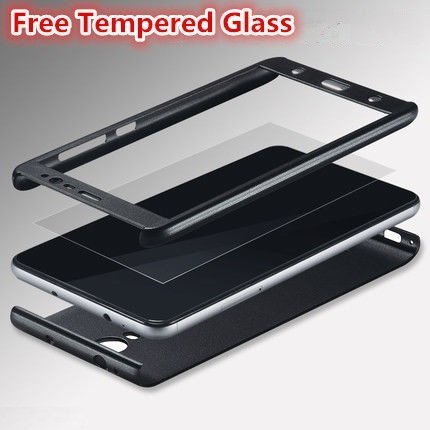 FOR VIVO V5 PLUS AEMA (TM) ORIGINAL 100% 360 Degree VIVO V5 PLUS Front Back Cover Case WITH TEMPERED BLACK