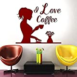 Pegatinas de pared con texto en inglés 'I Love Coffee City', vinilo para niña, bebiendo, café, decoración para el hogar, decoración de interiores, 57 x 50 cm