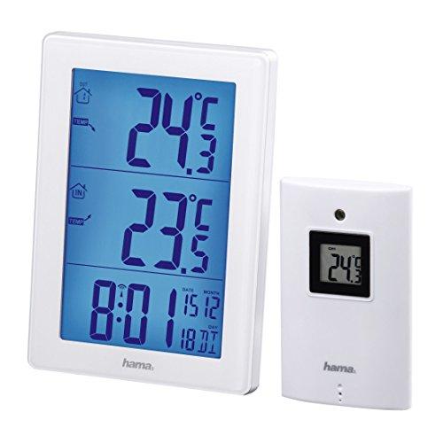 Hama Funk Wetterstation mit Außensensor EWS-3000 (mit Funkuhr, Wecker, Thermometer, 50 m Reichweite) Wanduhr weiß