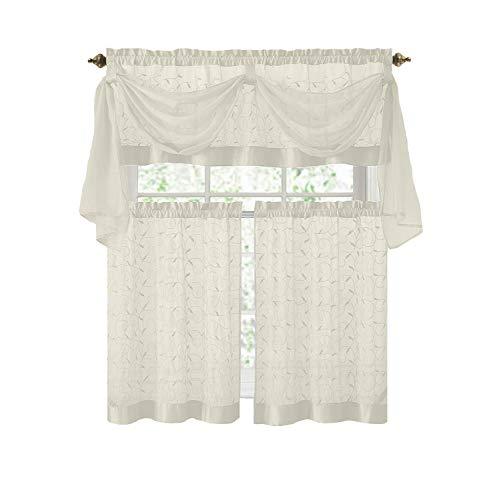 Victoria Classics Linen Leaf 4 Piece Kitchen Curtain Set (Beige)