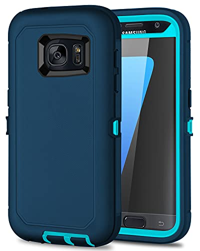 I-HONVA for Galaxy S7 Case Shockproof Dust/Drop Proof 3-Layer Full Body Protection [Without Screen Protector] Rugged Heavy Duty Durable Cover Case for Samsung Galaxy S7 G930, Turquoise
